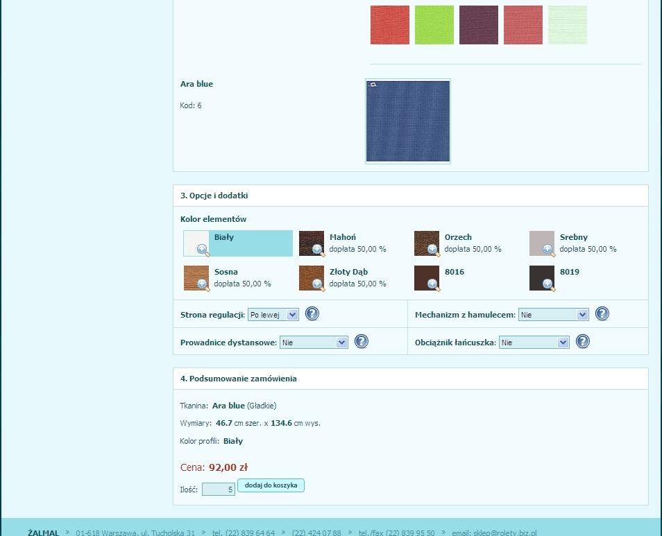 jak zmienić kolor osprzętu w zamówieniu rolet plis i żaluzji